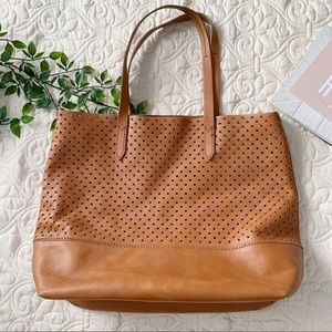 J. Crew Downing Perforated Leather Cognac Tote